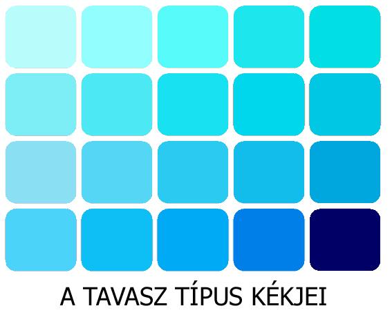 meleg színek a tavasz kékjei